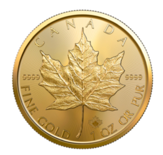 Gold Canadian maple coin.